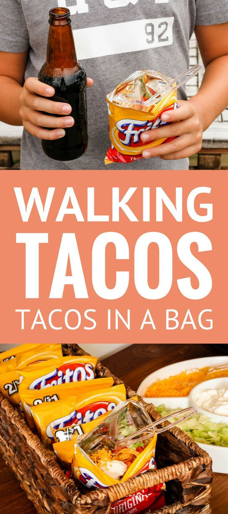 Walking Tacos Recipe -- Pinned over 140,000 times! These little tacos in a bag are equally perfect for game day get togethers or busy school nights, even camping… So simple and easy to make! | taco in a bag | how to make walking tacos | frito chili pie |  https://uk.pinterest.com/uksportoutdoors/bags-and-packs/pins/