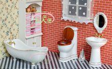 1:12 Dollhouse Miniature Möbel Badezimmer Weiß Wc-becken Spiegel 5 stücke(China (Mainland))