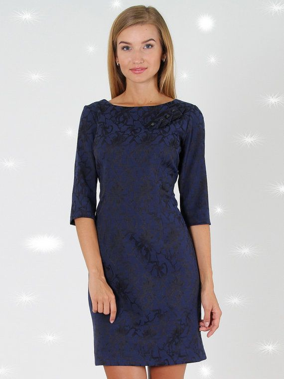 Elegante avondjurk, marine blauwe korte jurk, Classic jurk met bloemen print, Jacquard bodycon jurk.