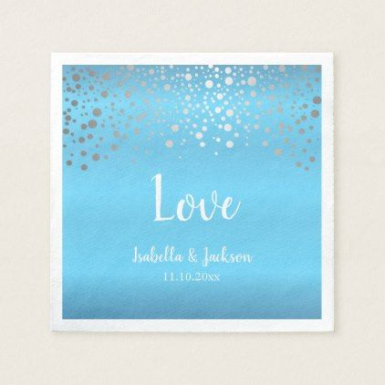 Baby Blue and Silver Confetti Dots Napkin - anniversary cyo diy gift idea presents party celebration