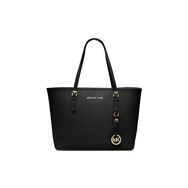 Michael Kors Jet Set Travel Saffiano Leather Small Tote, Black (405 BGN) ❤ liked on Polyvore featuring bags, handbags, tote bags, black, beach handbags, michael kors, black tote bag, black saffiano leather tote and black tote