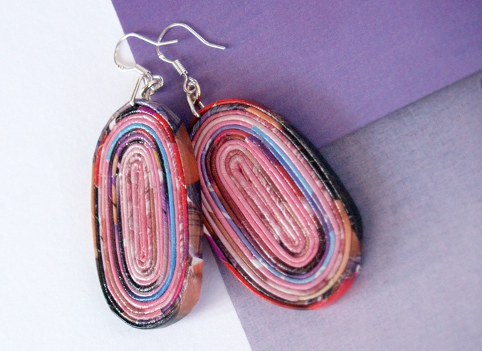 Recycled paper earrings * blureco https://www.facebook.com/blureco.jewellery
