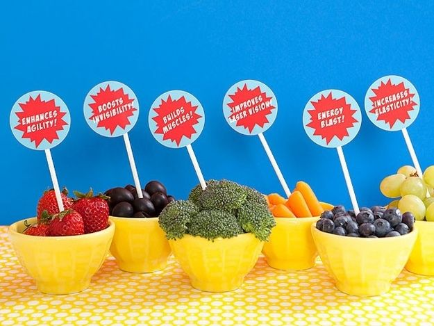 For a healthier option: SUPER foods. | How To Throw The Most Awesome Superhero Party Ever