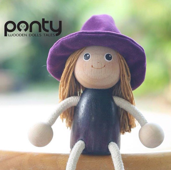 Ponty Witch : PW 01 Lovely hand painted wooden doll By PontyDolls