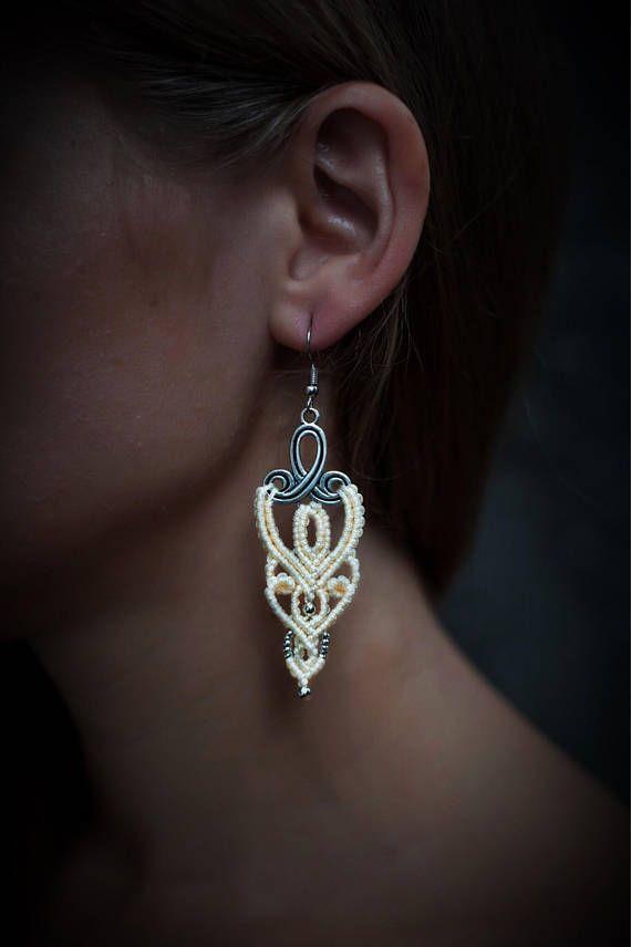 Macrame earrings beige earrings micromacrame earrings