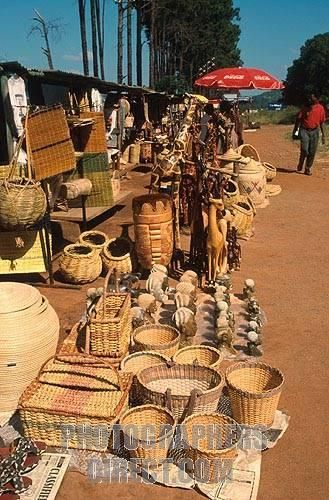 Traditional craft market next to the road in South Africa