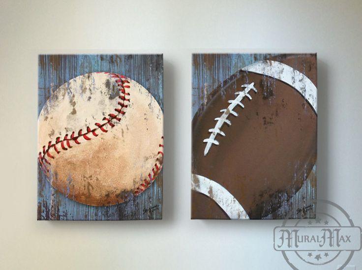 Baseball and Football Sports Wall Art Baseball by MuralMAX
