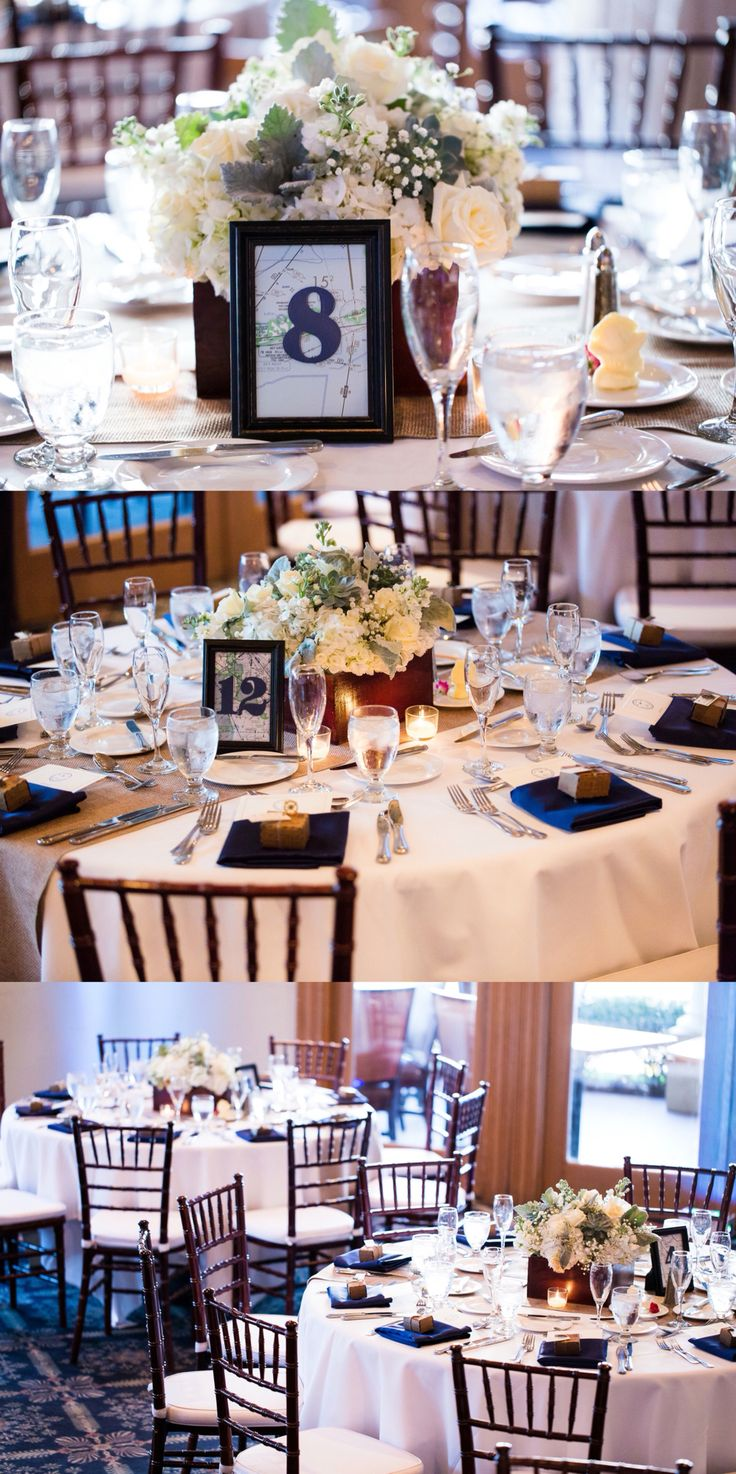 Aviation themed wedding reception table decor.