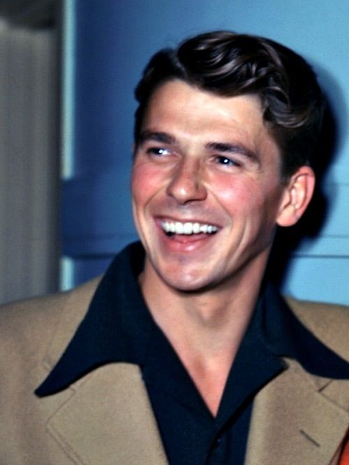 "Wow, he looks very different from the other young photos I've seen! (""Ronald Reagan, 1940s"") ... very handsome!!"
