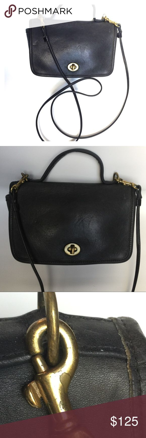 Vintage Authentic Coach Cross body bag blk leather Vintage Authentic Coach black leather cross body bag with distressed brass hardware.  Measures about 5x7x3 Ultra soft leather.   Totally rustic & tough girl cute! Great for riding Harley Davidson motorcycles and attending music festivals. Goth preppy rodeo lol Coach Bags Crossbody Bags