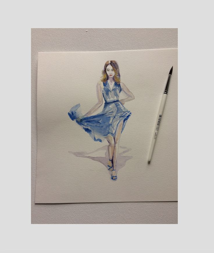 "Daily sketch ""lalagirl"". Inspiration by the film ""La La Land"".  #girl, #sketch, #illustration, #watercolor, #dance"
