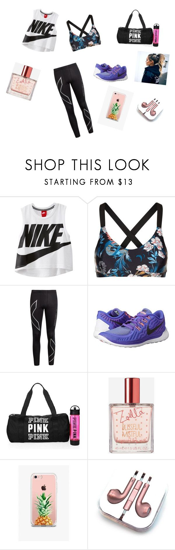 """Workout day"" by maddy-lane235 on Polyvore featuring NIKE, The Upside, 2XU, Victoria's Secret, Zoella Beauty, The Casery and PhunkeeTree"