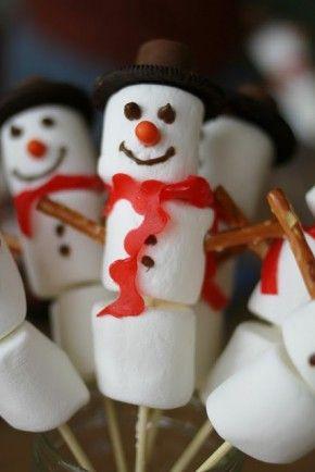 sneeuwpop met marshmallows