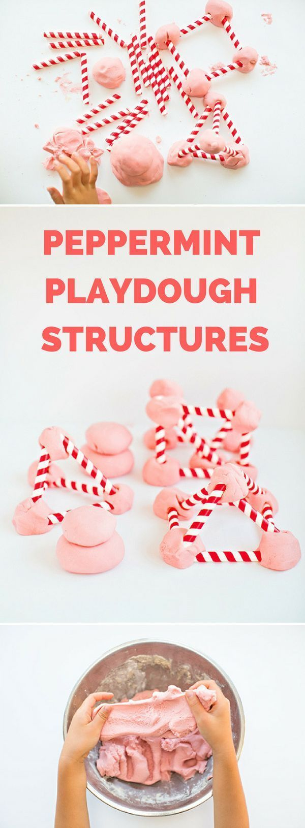 Homemade Peppermint Playdough Straw Structures.