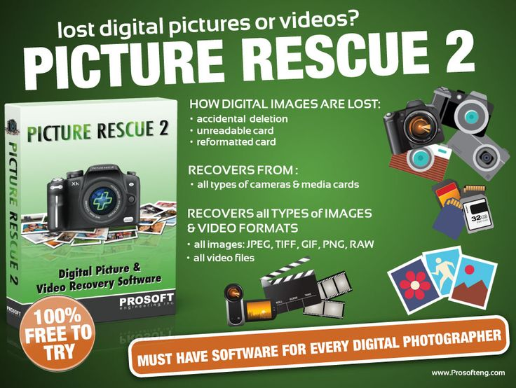 Lost digital pictures or videos?  Prosoft's Picture Rescue is the best digital picture recovery software.  Try the demo for free.