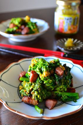 簡単!絶品!5分でおもてなし惣菜 菜の花とベーコン♪柚子胡椒ガリマヨソテー レシピブログ