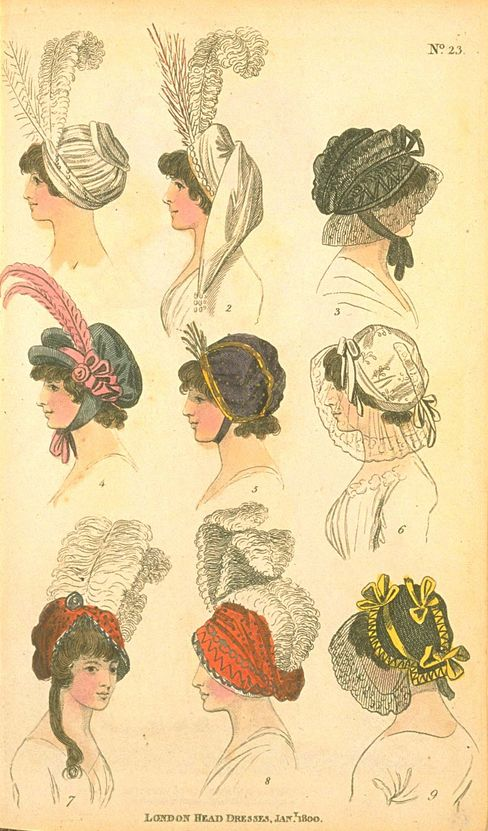 London Head Dresses, January 1800, Fashions of London & Paris
