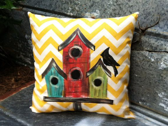 Yellow and White Chevron Handpainted Birdhouse by SippingIcedTea, $28.00
