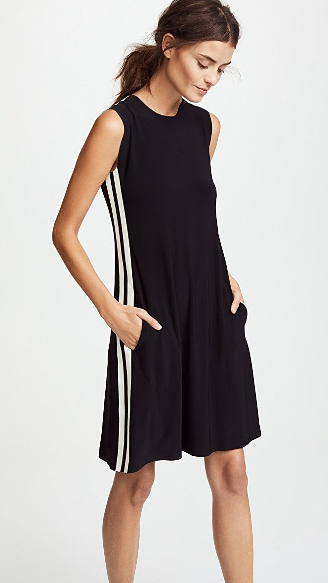 6116e6466eebf Norma Kamali Side Stripe Sleeveless Swing Dress | 15% off 1st app order use  code: 15FORYOU