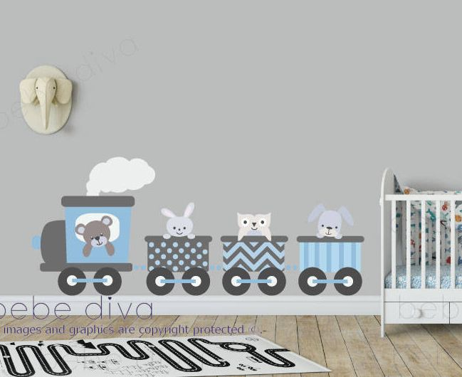 Train Wall Decal, Transport Wall Decals, Wall Decal Nursery, Nursery Wall Decal, Jungle Wall Decal, Safari Wall Decal, Wall Stickers, Vinyl Wall Decals