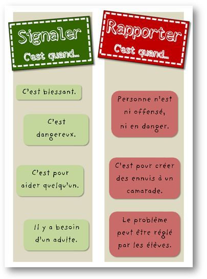 French tattle or tell sign - Signaler ou rapporter?  Belle affiche serviable pour la salle de classe!