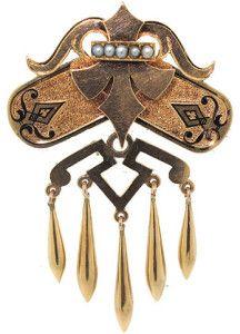 Брошь 19 века с жемчужинами - beladora.com