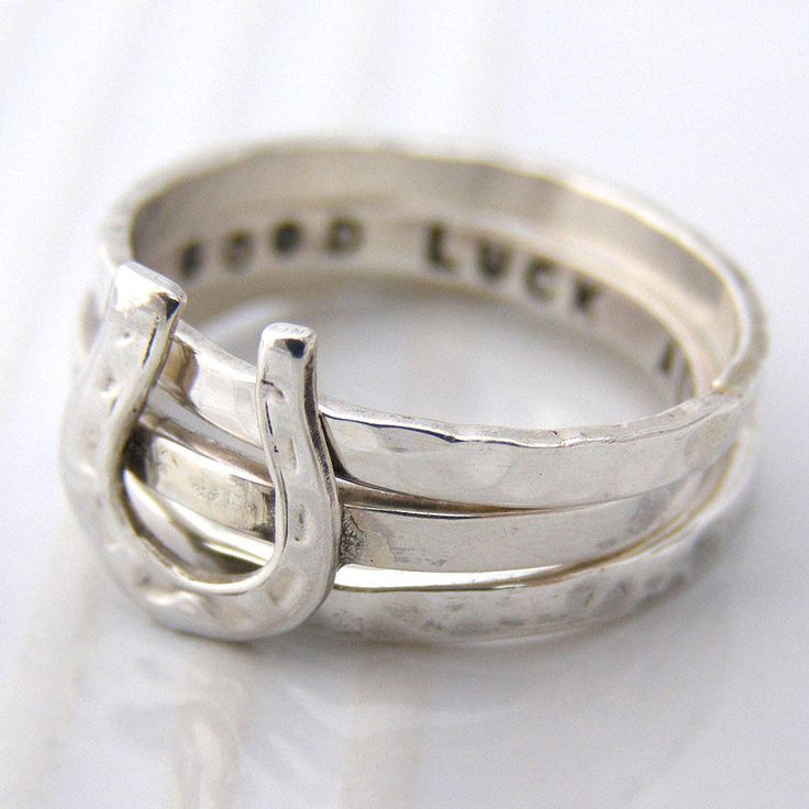 personalised horse shoe stacking ring by soremi | notonthehighstreet.com