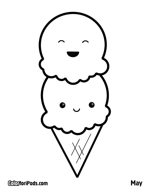 Kawaii Ice Cream Coloring Page Cbssmm Pages Printable Book Ideas Gallery For Kids