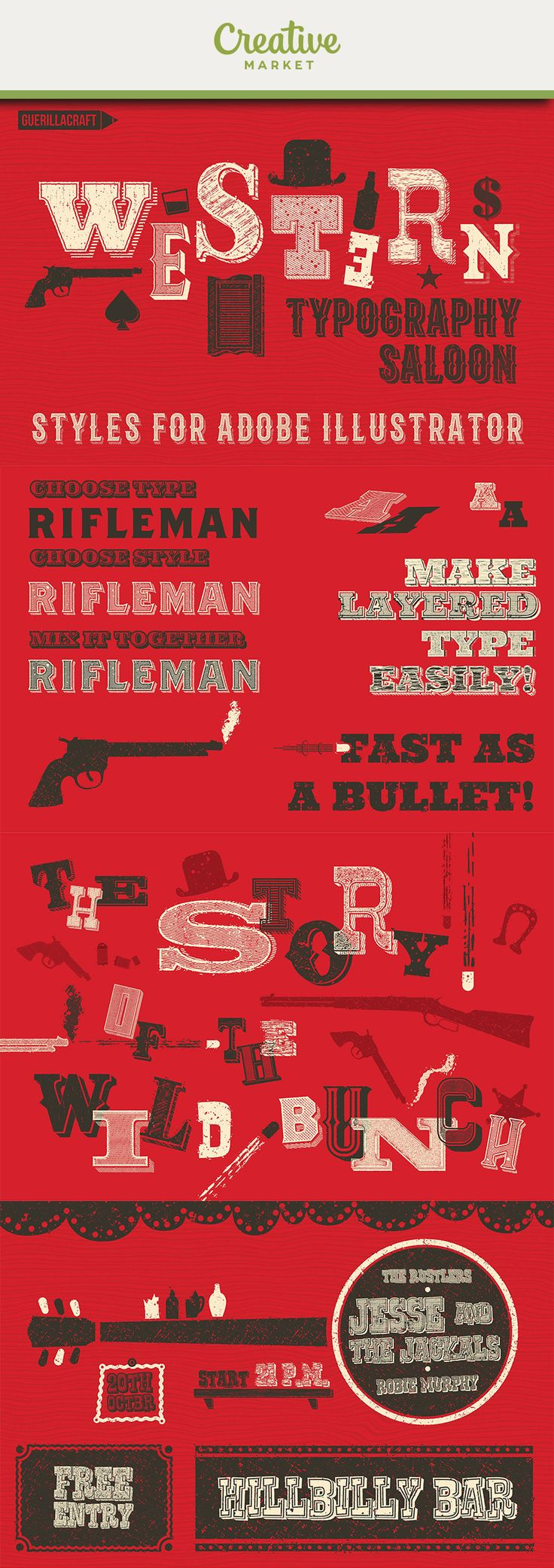 """Ad: GET 38 VINTAGE TYPOGRAPHY EFFECTS FOR ADOBE ILLUSTRATOR WITH FEELING OF THE WILD WEST! …and much more! YOU CAN MAKE EASILY:beautiful vintage typography posters or postcards ready to print (and sell!)your own old looking font with these effects (and sell it!)""""Dollar Bills"""" graphics with engraving styles"""