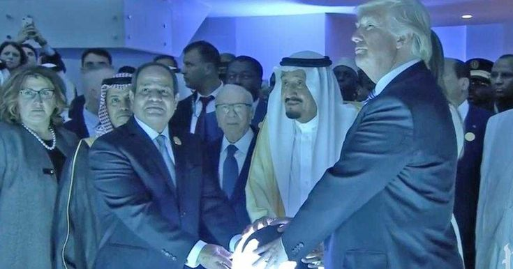 Over the weekend, President Donald Trump joined King Salman of Saudi Arabia and Egyptian President Abdel Fattah el-Sisi in grabbing a mysterious, glowing orb and posing like masters of evil.  The Chur