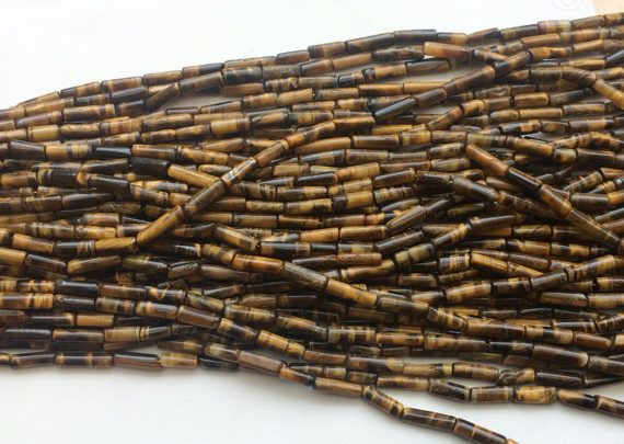 WHOLESALE 5 Strands Tigers Eye Tube Beads Tigers by gemsforjewels