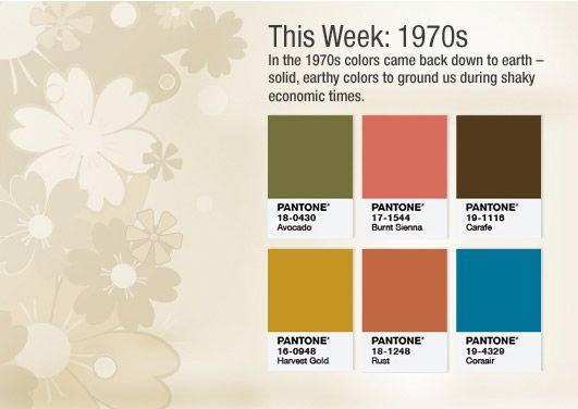 Colors of the 1970s // Pantone's 50th // color palette