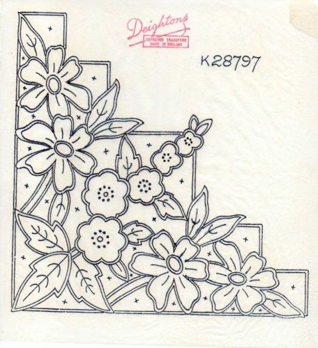 VINTAGE EMBROIDERY TRANSFERS - FLORAL CORNER SHEET x 3 - TABLECLOTH