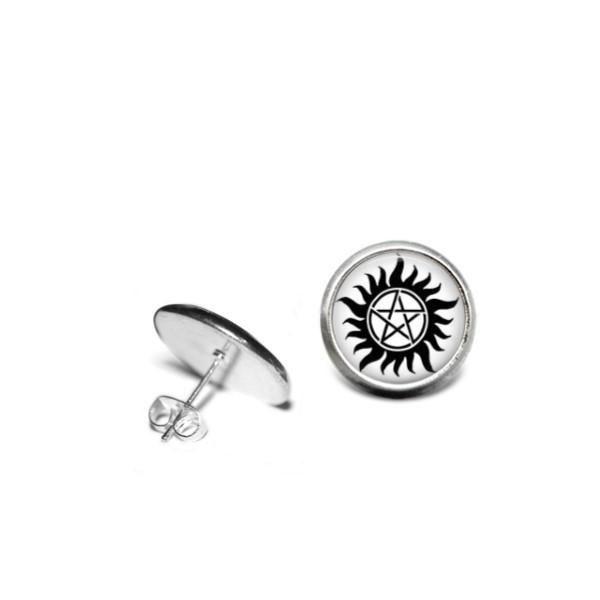 Supernatural Anti Possession Symbol 12mm Stainless Steel Stud Earrings Handmade