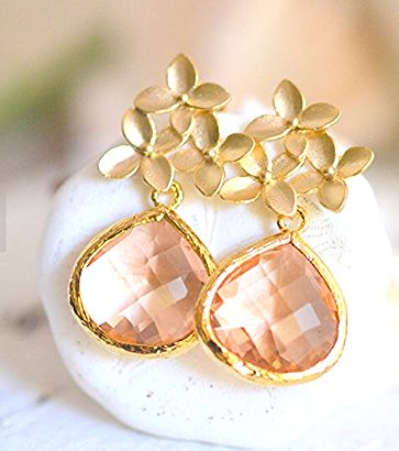 Champagne Post Earrings. Wedding Jewelry. Bridesmaids Earrings.