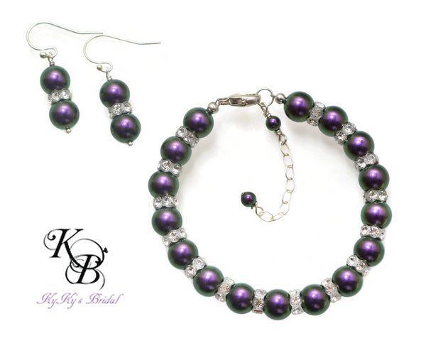 Purple Jewelry Set, Bracelet and Earring Set, Prom Jewelry, Wedding Jewelry, Bridesmaid Jewelry, Jewelry Sets, Purple Jewelry, Bride | KyKy's Bridal, Handmade Bridal Jewelry, Wedding Jewelry