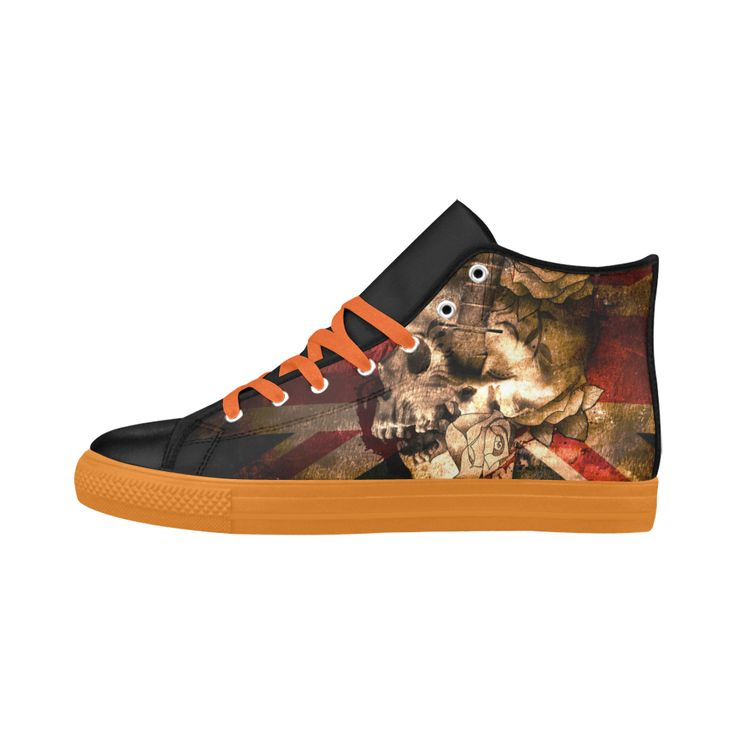 Grunge Skull and British Flag Aquila High Top Action Leather Women