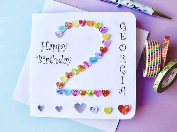 2nd Birthday Card Custom Personalised Age 2 Birthday Card 2nd Birthday Card For Girl Or Boy Daughter Son Bha02 Birthday Cards Diy Birthday Cards Girl Birthday Cards
