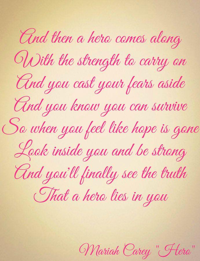 "Mariah Carey ""Hero"" Lyrics"