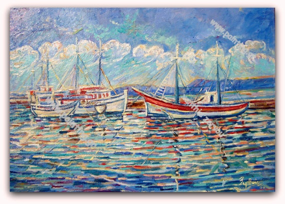 Fishing Boats by ORIGINALsPAINTINGS on Etsy, €390.00