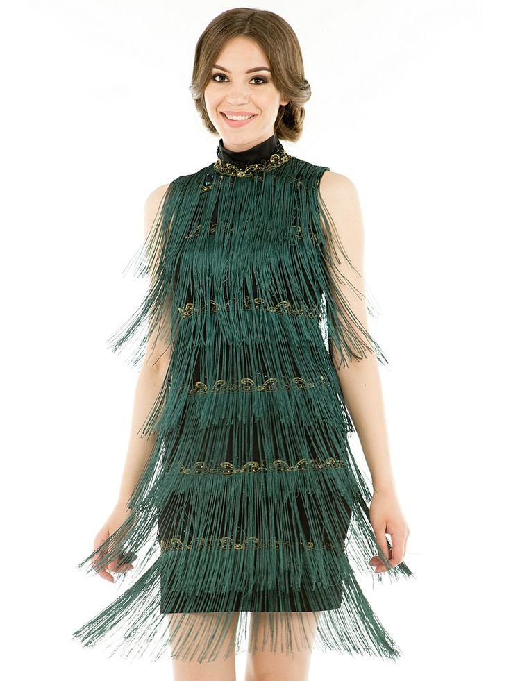 Платье Levall. Цвет темно-зеленый, золотистый.