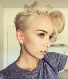 Platinum blonde pixie cut See this Instagram photo by @sarah_louwho • 331 likes