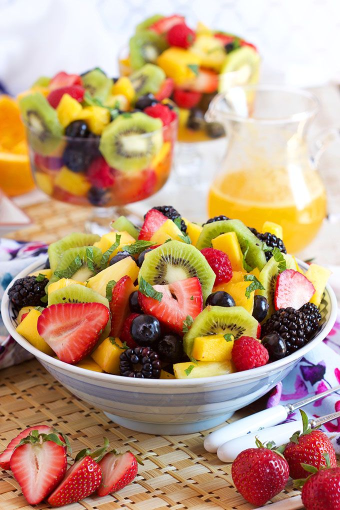 The most festive and refreshing dish ever, Sparkling Fruit Salad with Champagne Mimosa Dressing is fantastic for brunch, breakfast or just a summer day. | TheSuburbanSoapbox.com