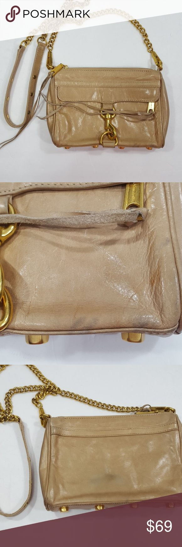 "Rebecca Minkoff Mini Mac Tan Purse Rebecca Minkoff Mini Mac Tan Purse 8 1/2 x 6 1/2  24"" strap Good condition with some marks Clean blue interior Rebecca Minkoff Bags"