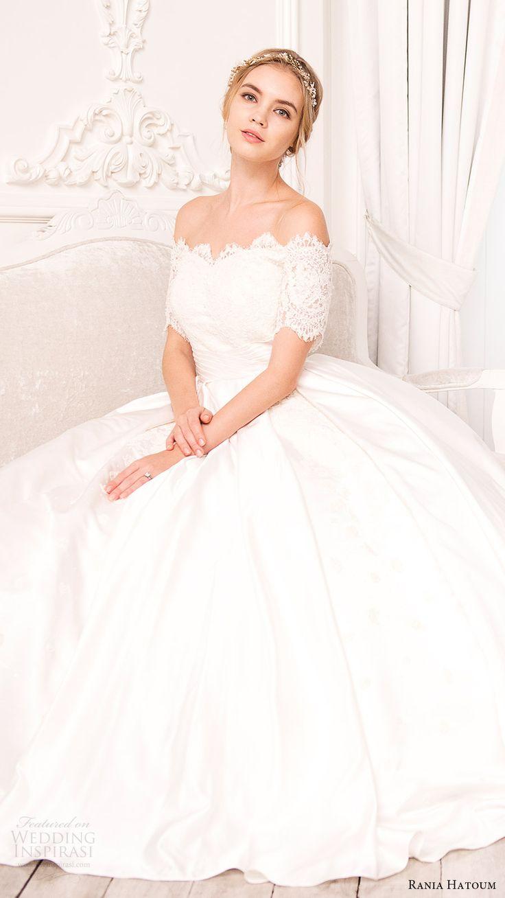 rania hatoum bridal spring 2017 half sleeves off shoulder ball gown wedding dress (inaa) zfv