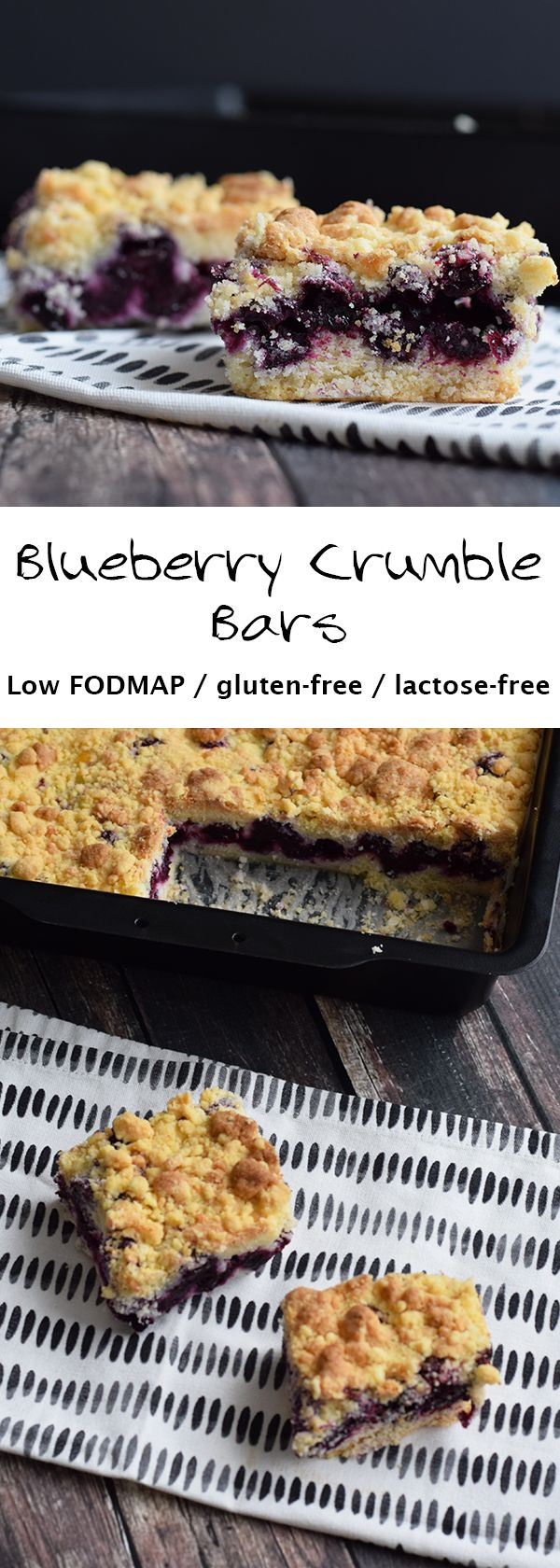 The most amazing blueberry crumble bars. Low FODMAP, gluten-free and lactose-free.