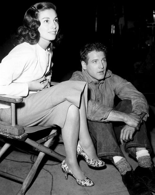 """Pier Angeli and Paul Newman on the set of: 'Somebody Up There Likes Me."""""""