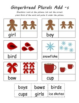 CC.L.K.1c Form regular plural nouns orally by adding /s/ or /es/Kindergarten Winte, Art Common, Kindergarten Common Cores, Languages Art, Cores Christmas, Plural Activities, Kindergarten Klub Com, Kindergarten Plurals, Plurals Kindergarten