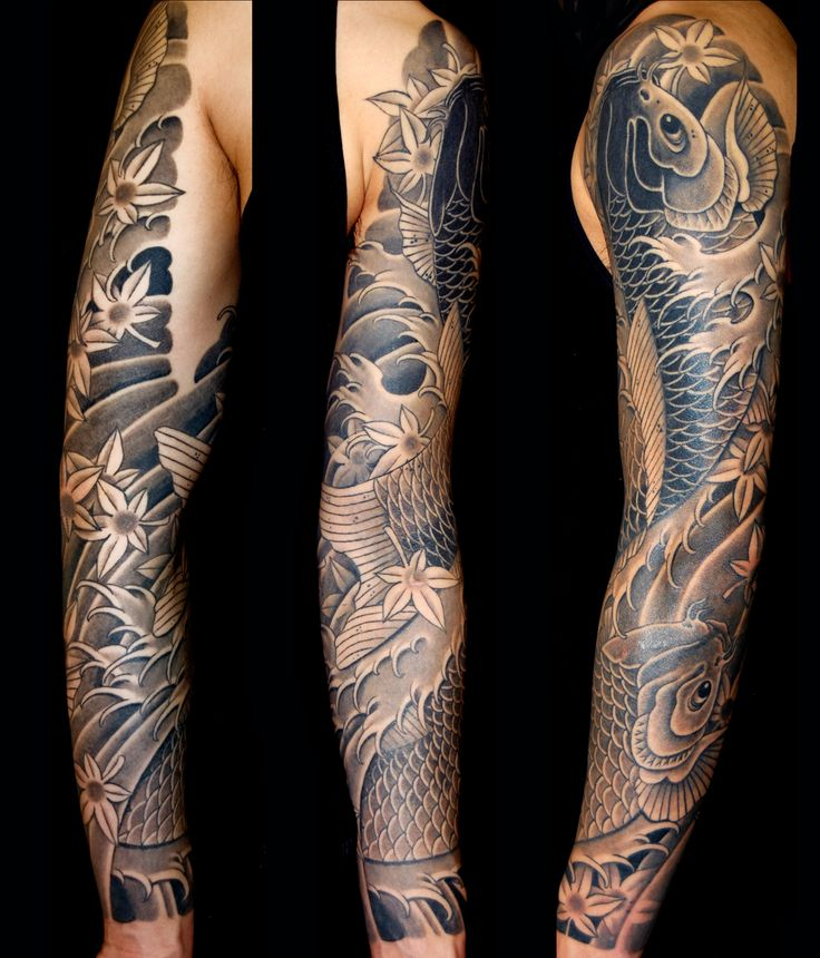 Black and grey koi sleeve by Aaron Bell at Slave to the Needle in Seattle WA