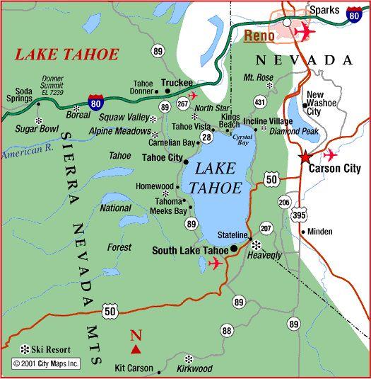 map of reno tahoe area | ... : Road Map of Lake Tahoe and Reno (South Lake Tahoe, California